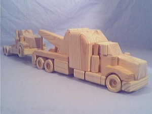 wooden toy wrecker truck